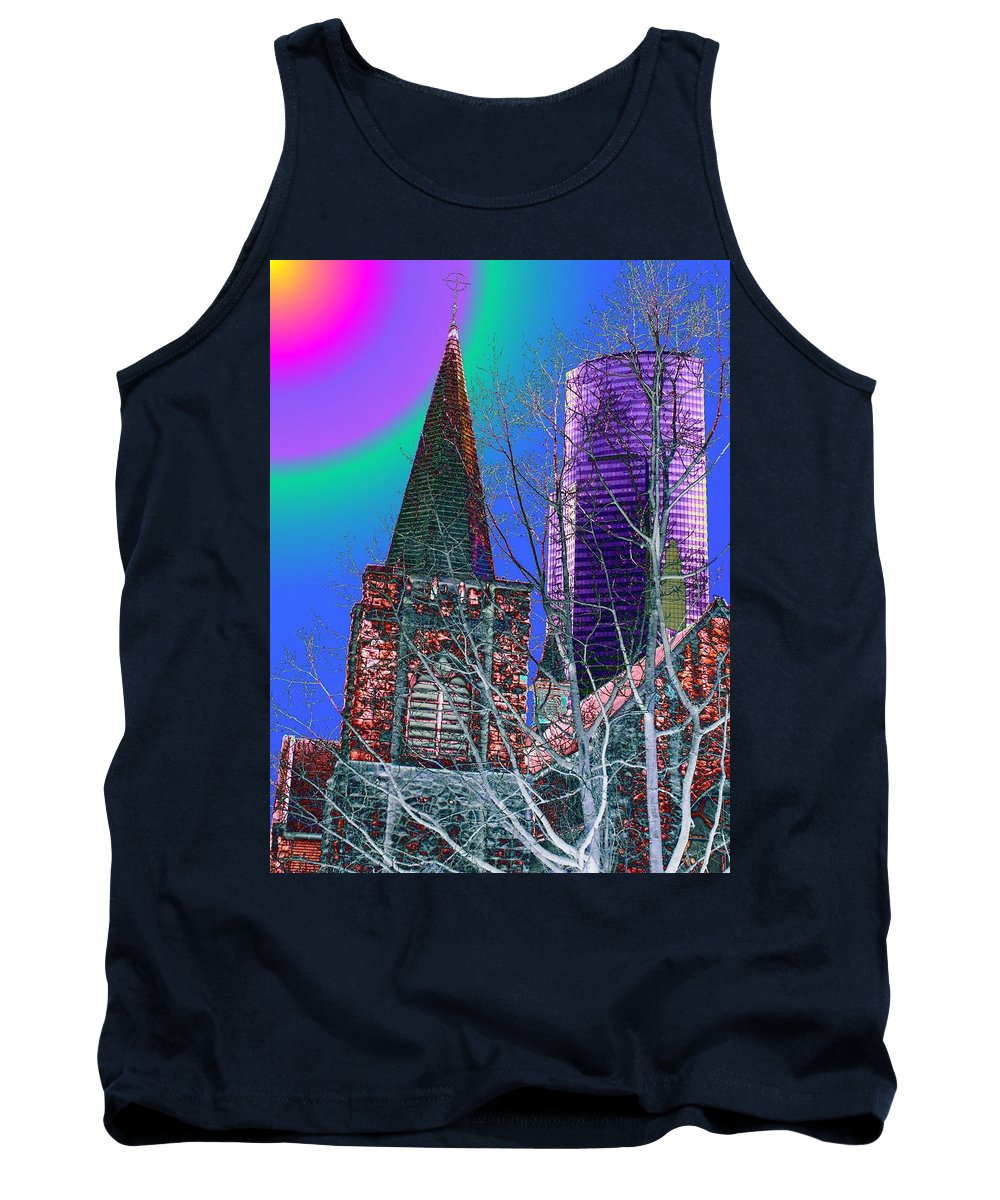 Seattle Tank Top featuring the digital art Steeple And Columbia by Tim Allen