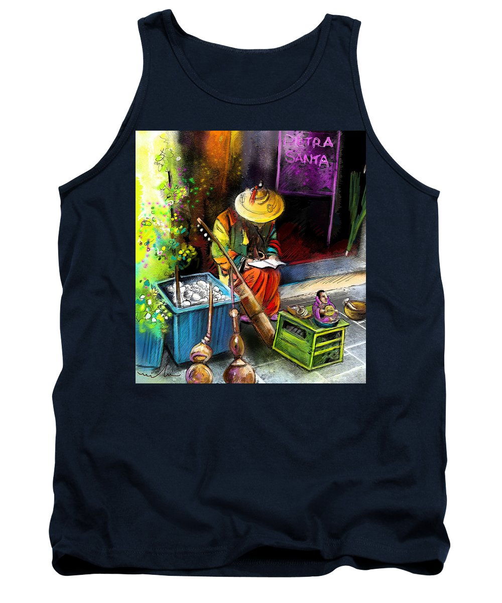 Music Tank Top featuring the painting Street Musician In Pietrasanta In Italy by Miki De Goodaboom