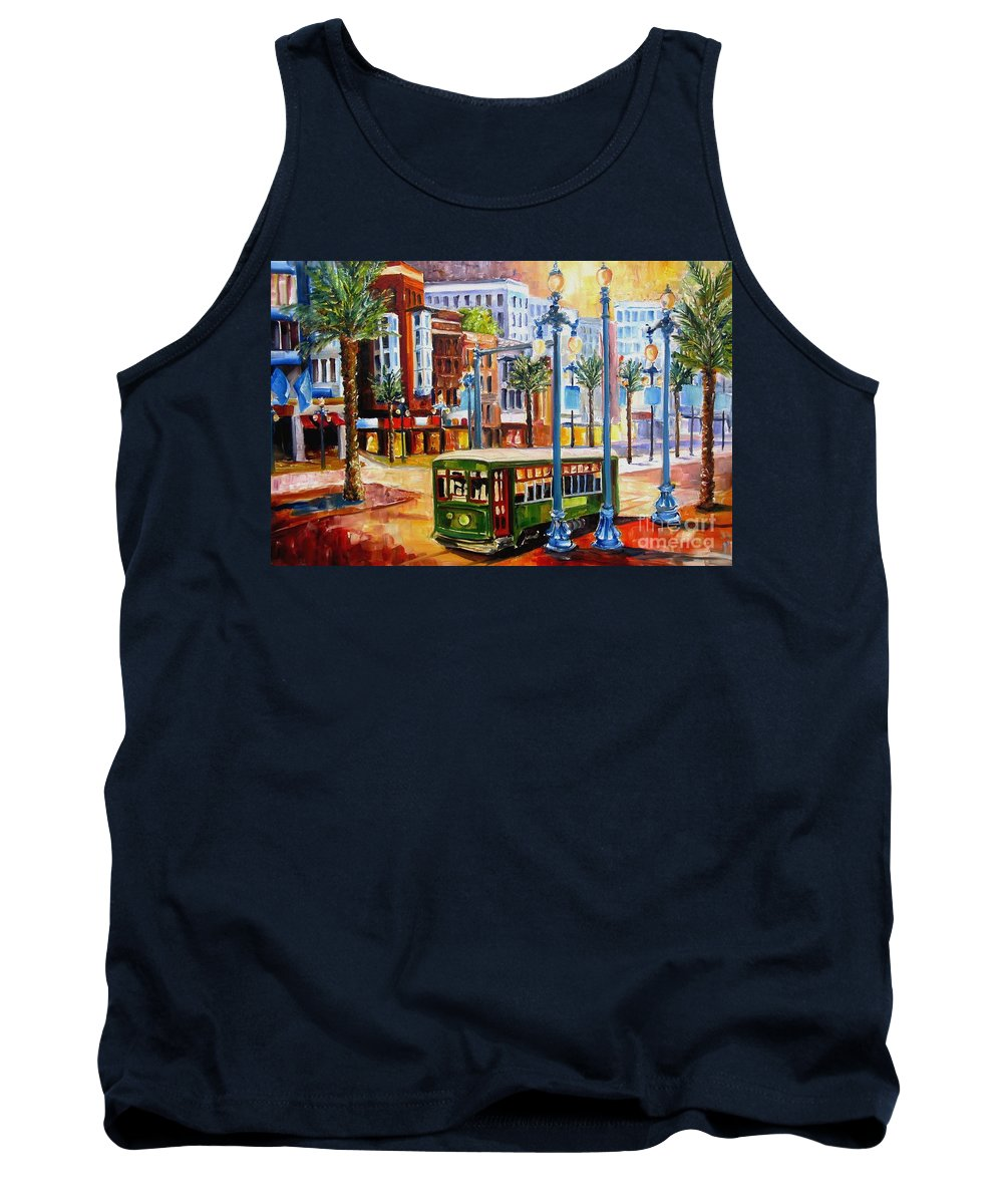 New Orleans Paintings Tank Top featuring the painting Streetcar On Canal Street by Diane Millsap