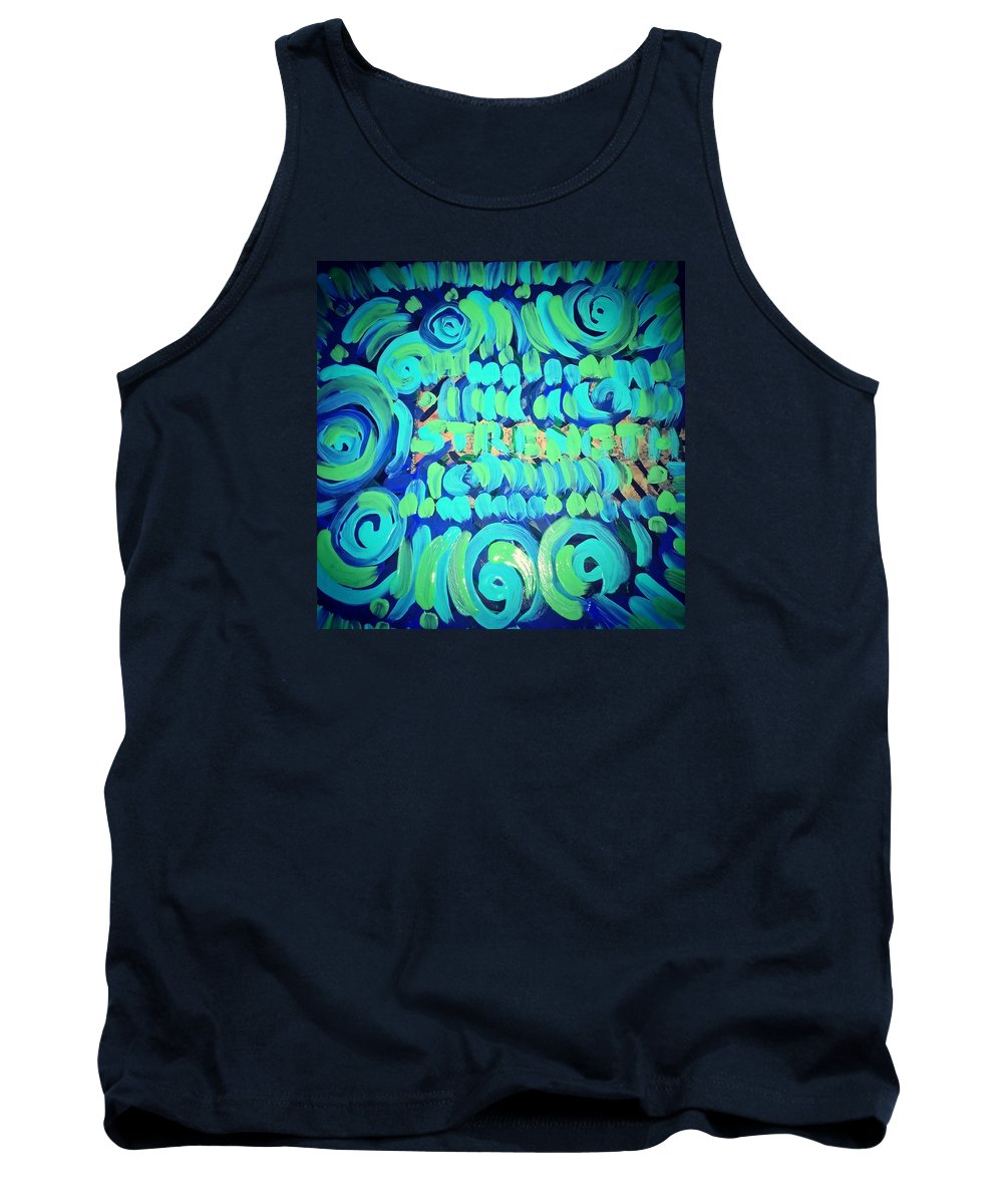 Love On Canvas Green Blue Ny African. Beautiful Tank Top featuring the painting Strength by Shanice Figeroux