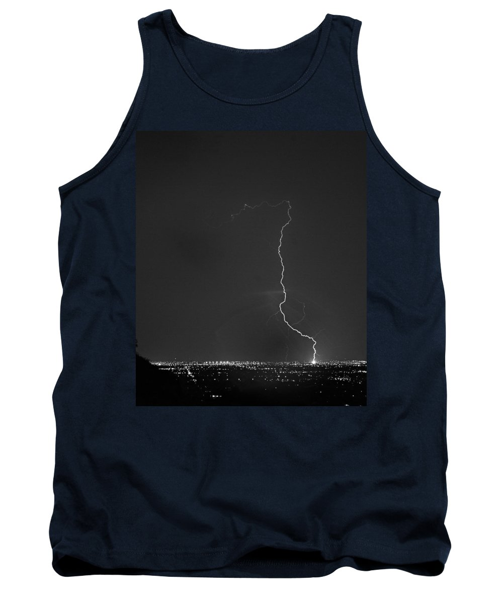 Lightning Tank Top featuring the photograph Strike On The City. by James BO Insogna