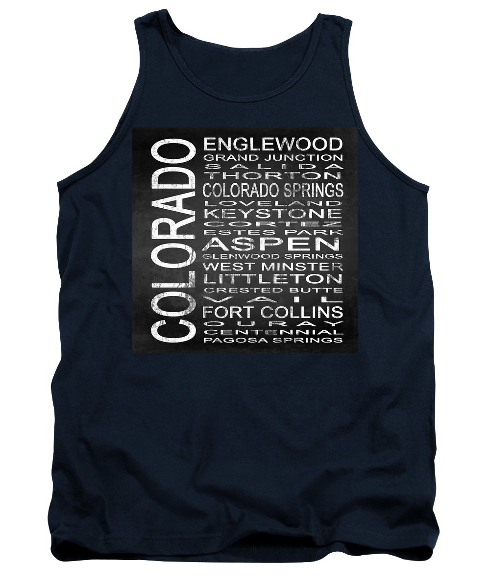 Subway Sign Tank Top featuring the digital art Subway Colorado State 2 Square by Melissa Smith