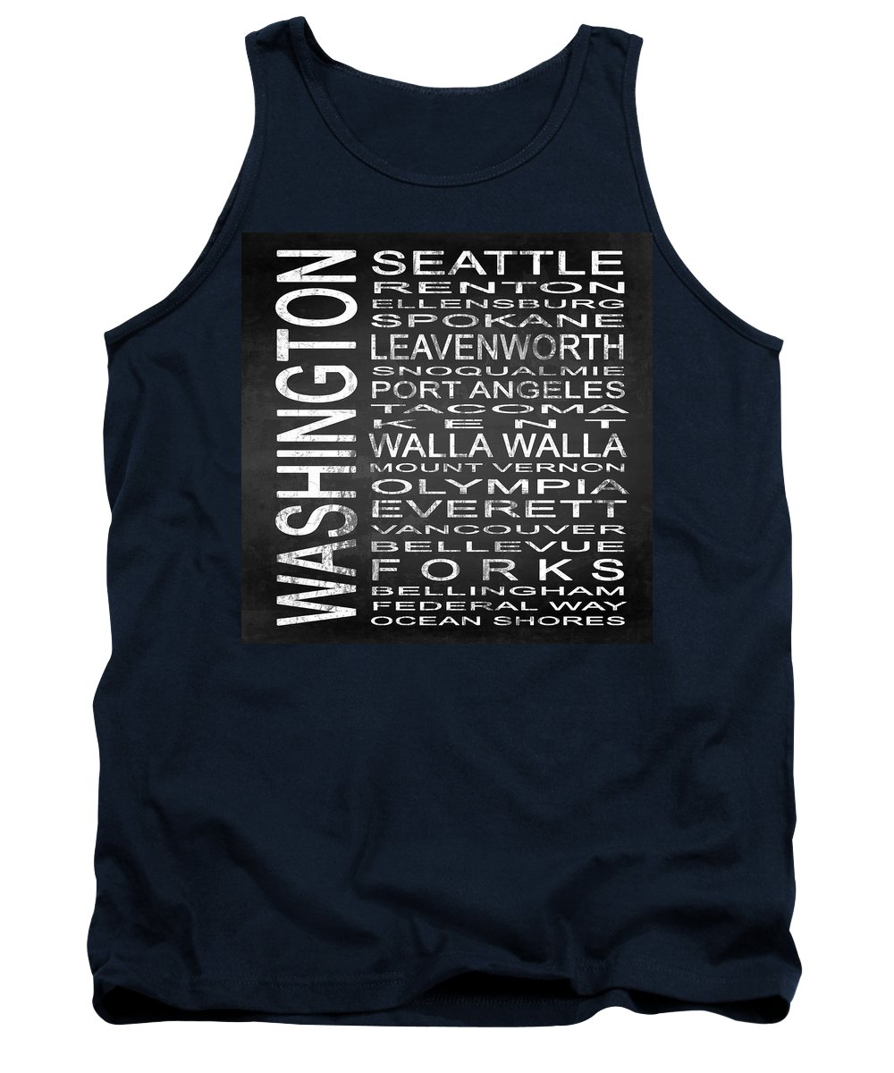 Subway Sign Tank Top featuring the digital art Subway Washington State Square by Melissa Smith