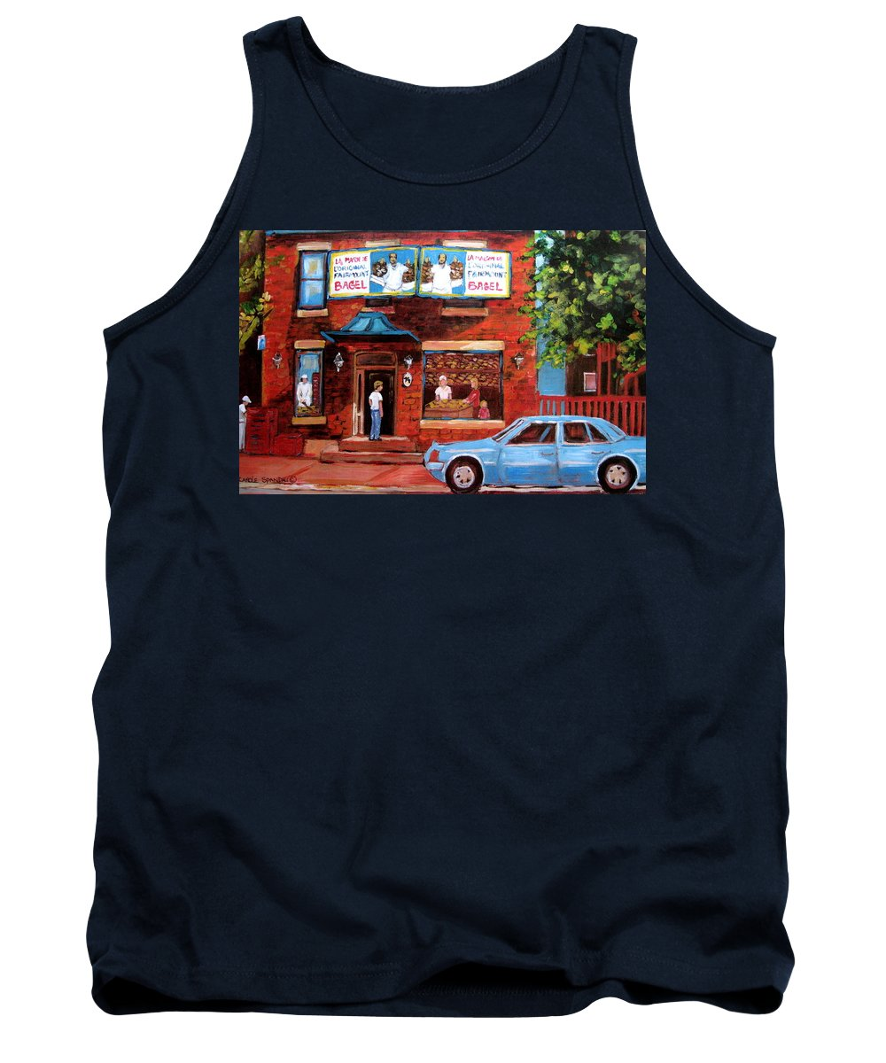 Fairmount Bagel Tank Top featuring the painting Summer At Fairmount by Carole Spandau