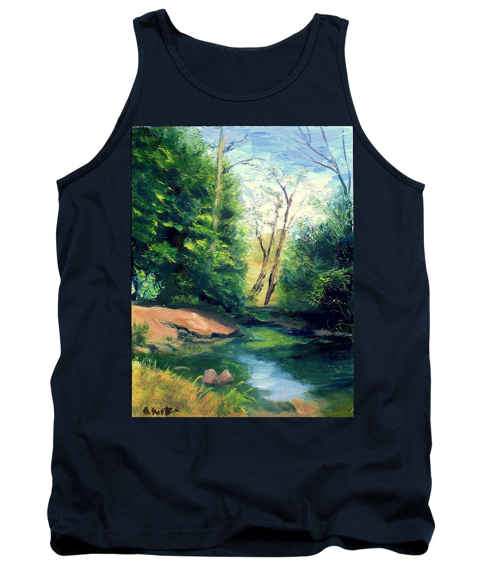 Landscape Tank Top featuring the painting Summer At Storm by Gail Kirtz