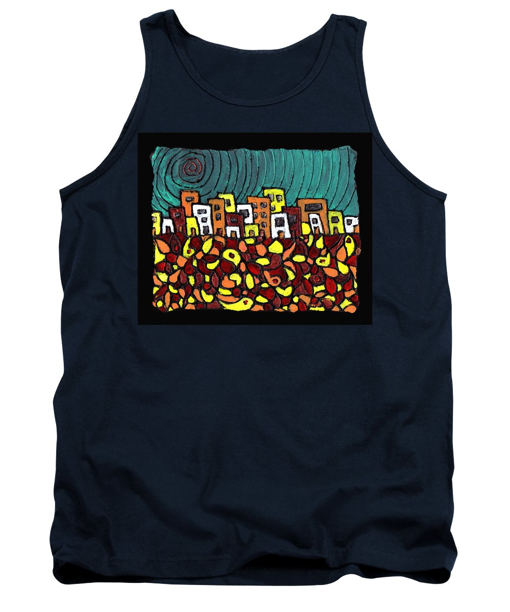City Tank Top featuring the painting Summer In The City by Wayne Potrafka