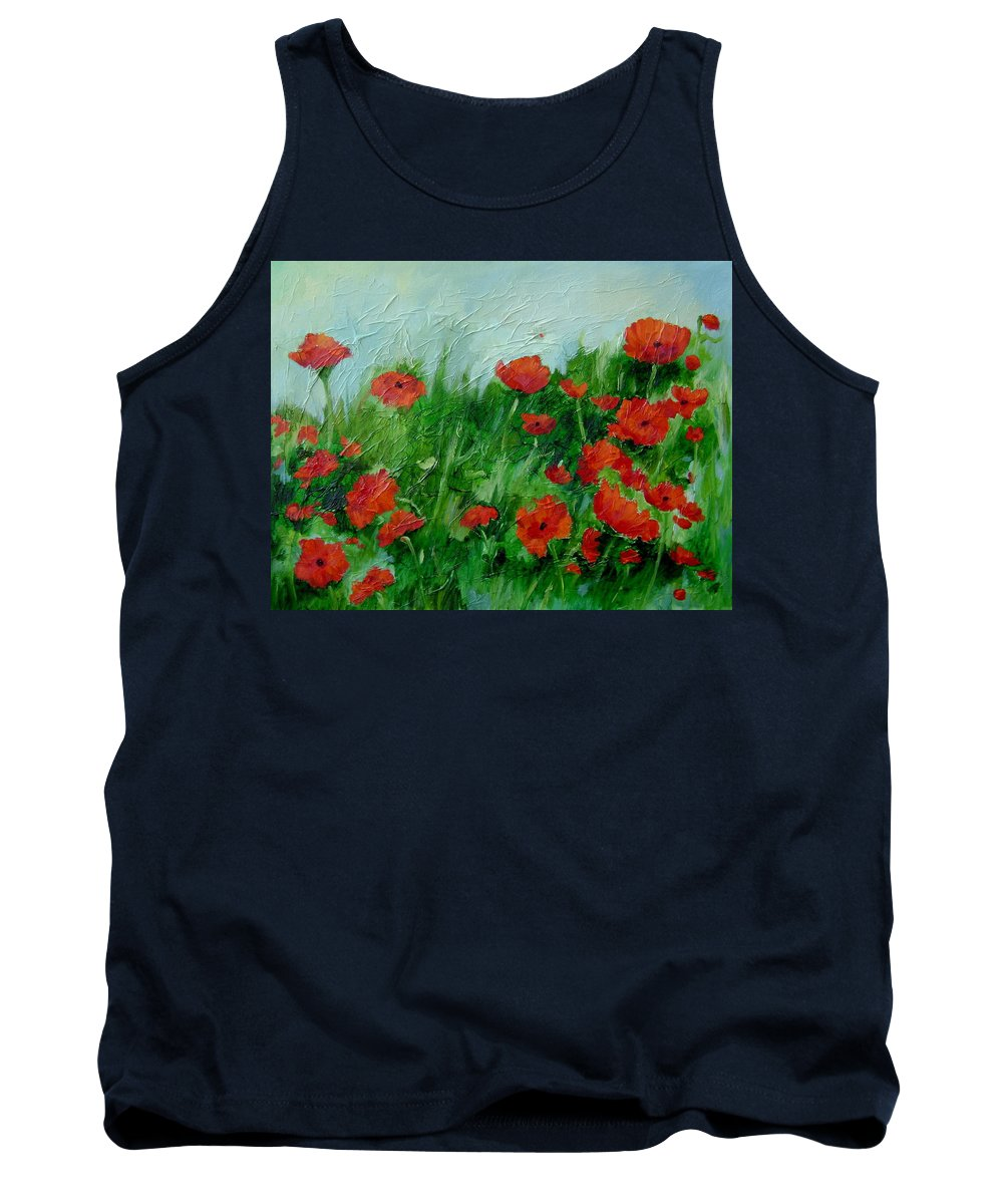 Red Poppies Tank Top featuring the painting Summer Poppies by Ginger Concepcion