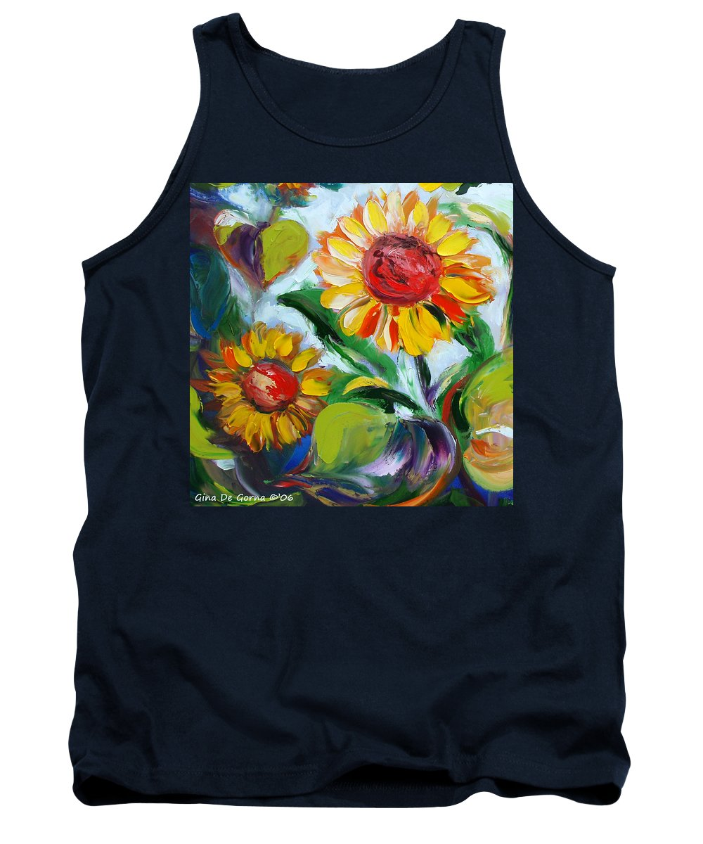 Flowers Tank Top featuring the painting Sunflowers 10 by Gina De Gorna