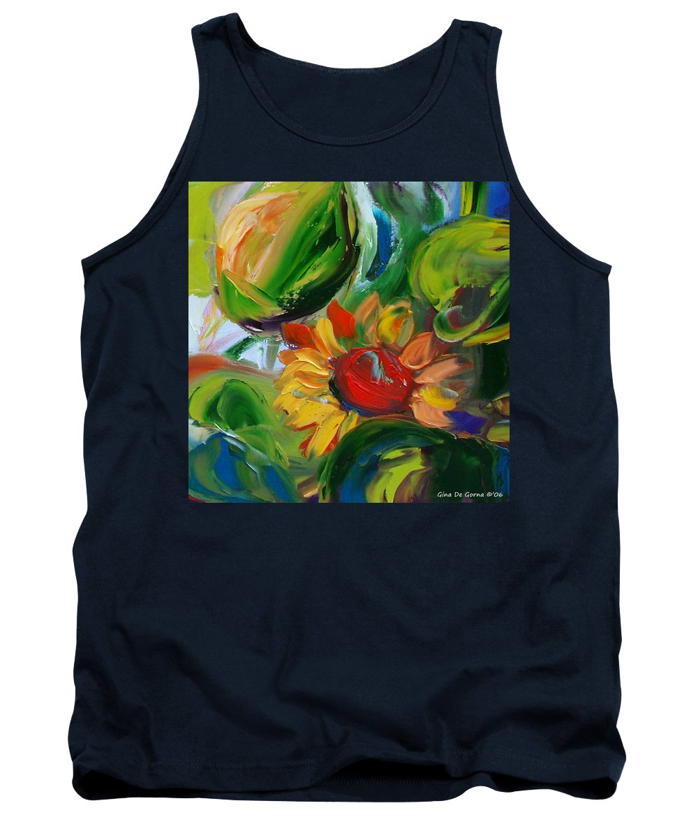 Flowers Tank Top featuring the painting Sunflowers 8 by Gina De Gorna