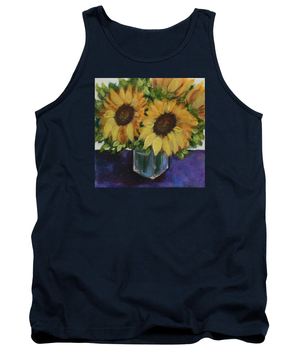 Sunflower Tank Top featuring the painting Sunflowers In A Square Vase by Donna Tucker