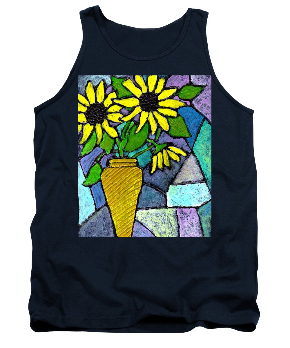 Flowers Tank Top featuring the painting Sunflowers In A Vase by Wayne Potrafka