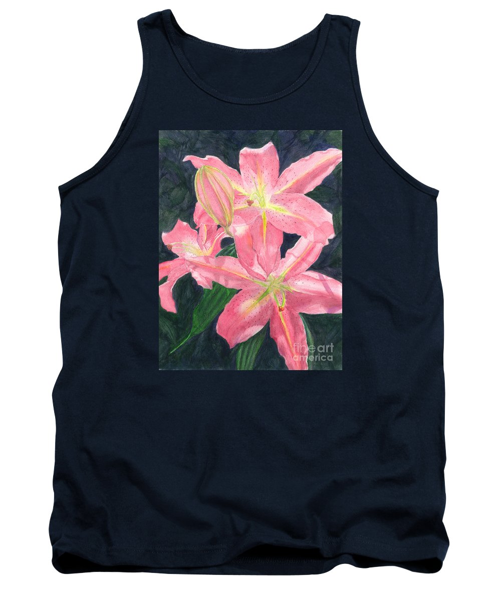 Floral Tank Top featuring the painting Sunlit Lilies by Lynn Quinn