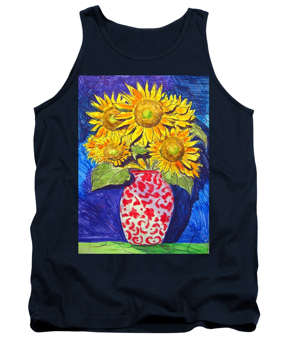 Sunflower Tank Top featuring the painting Sunny Disposition by Jean Blackmer