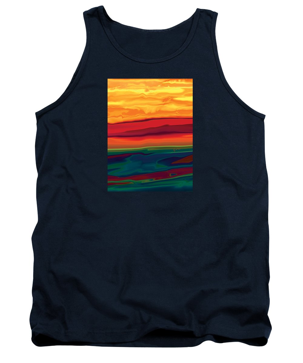 Art Tank Top featuring the digital art Sunset In Ottawa Valley 1 by Rabi Khan
