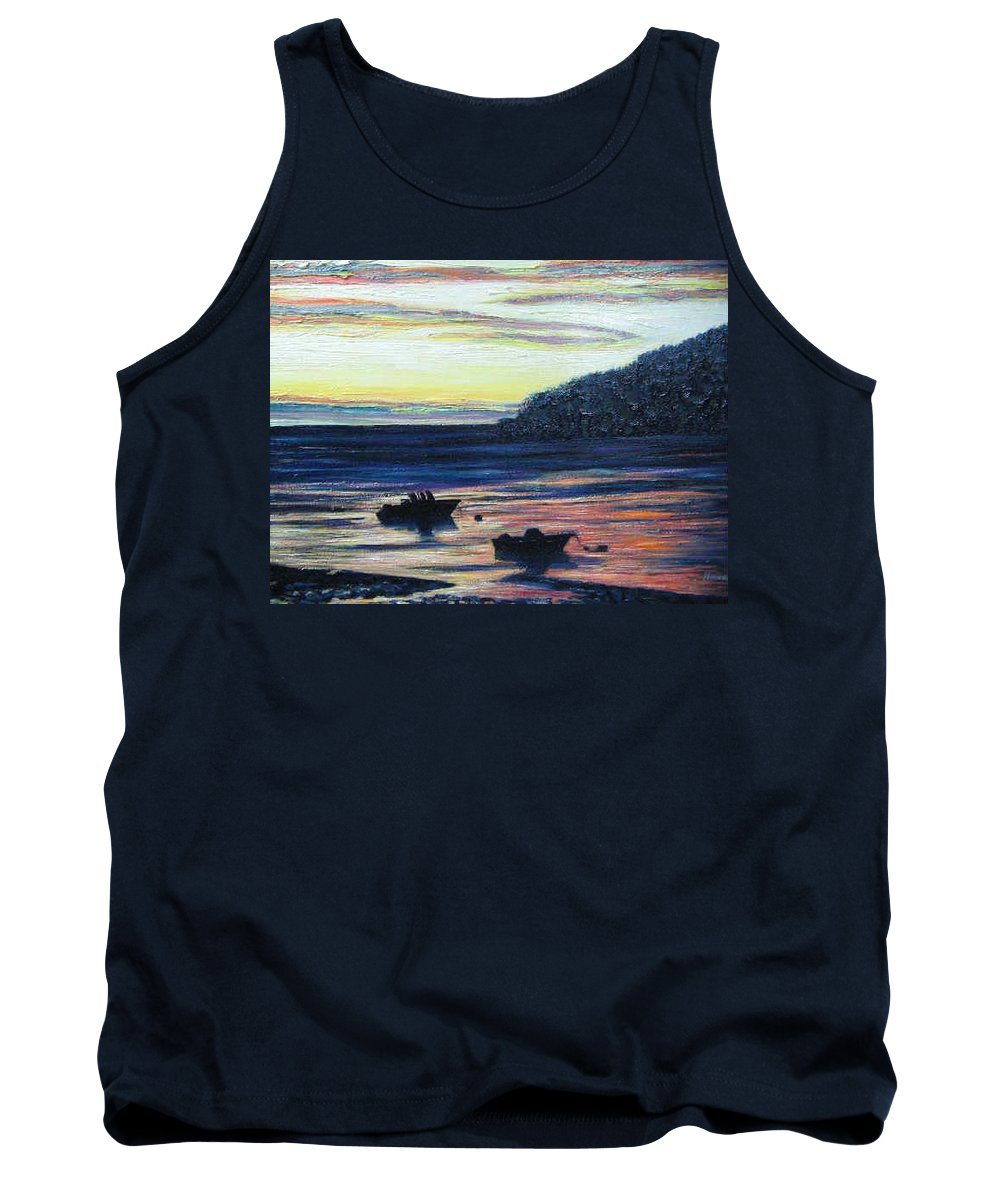 Maine Tank Top featuring the painting Sunset On Maine Coast by Richard Nowak