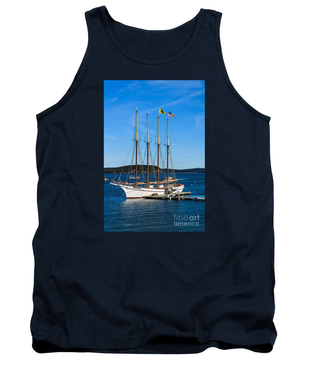 Acadia Tank Top featuring the photograph Tall Sailboat In Acadia by Terri Morris