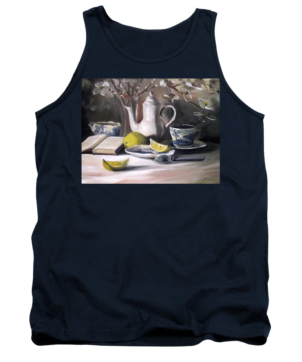 Lemon Tank Top featuring the painting Tea With Lemon by Nancy Griswold
