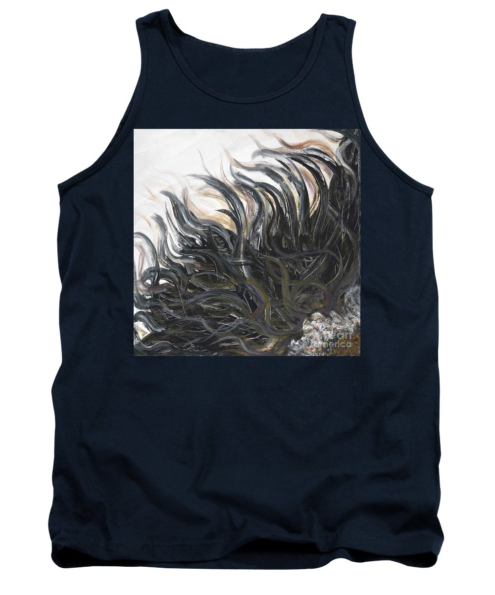 Texture Tank Top featuring the painting Textured Black Sunflower by Nadine Rippelmeyer