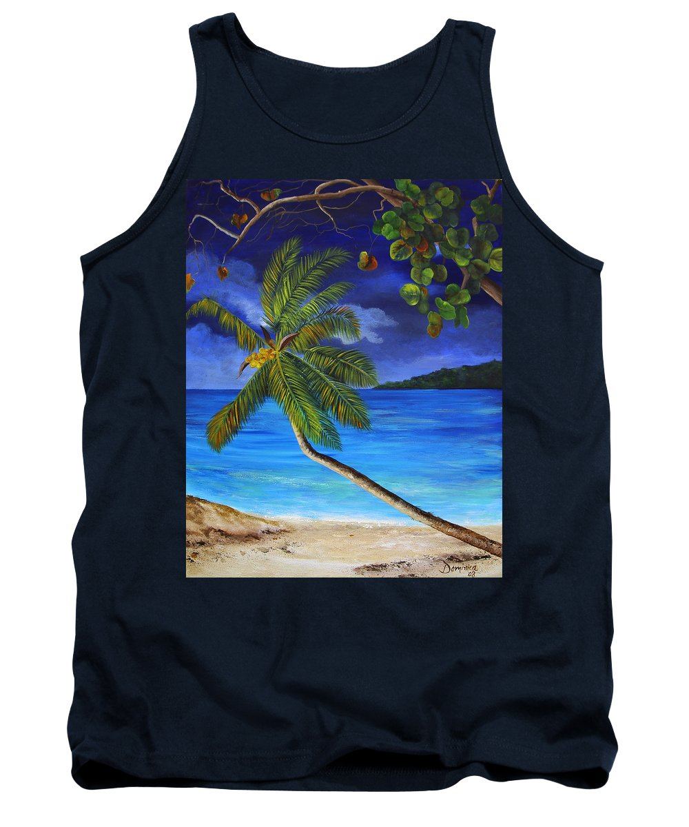 Beach Tank Top featuring the painting The Beach At Night by Dominica Alcantara