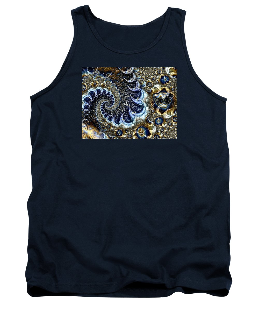 Fractal Diamonds Blue Jewel Dance River Tank Top featuring the digital art The Blue Diamonds by Veronica Jackson