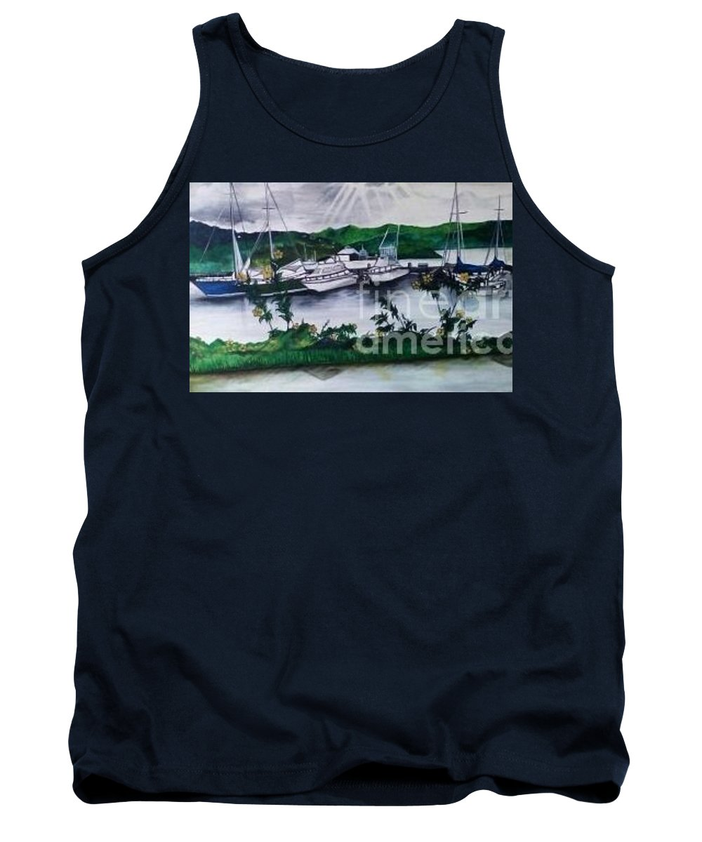 Landscape Tank Top featuring the painting The Docks by Geary Jones