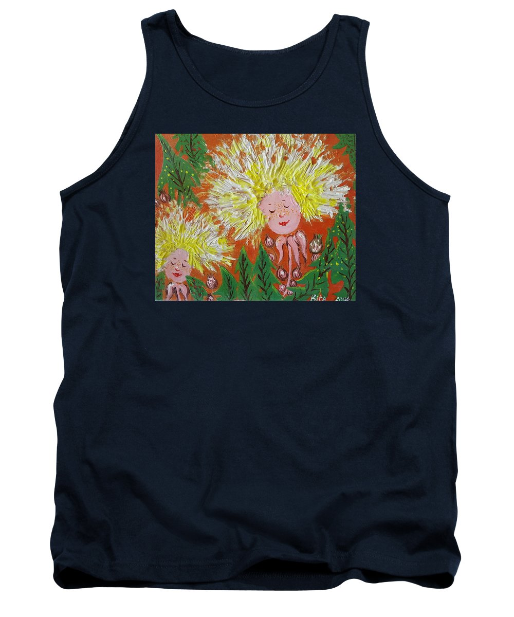 Dandelion Tank Top featuring the painting Family 2 by Rita Fetisov