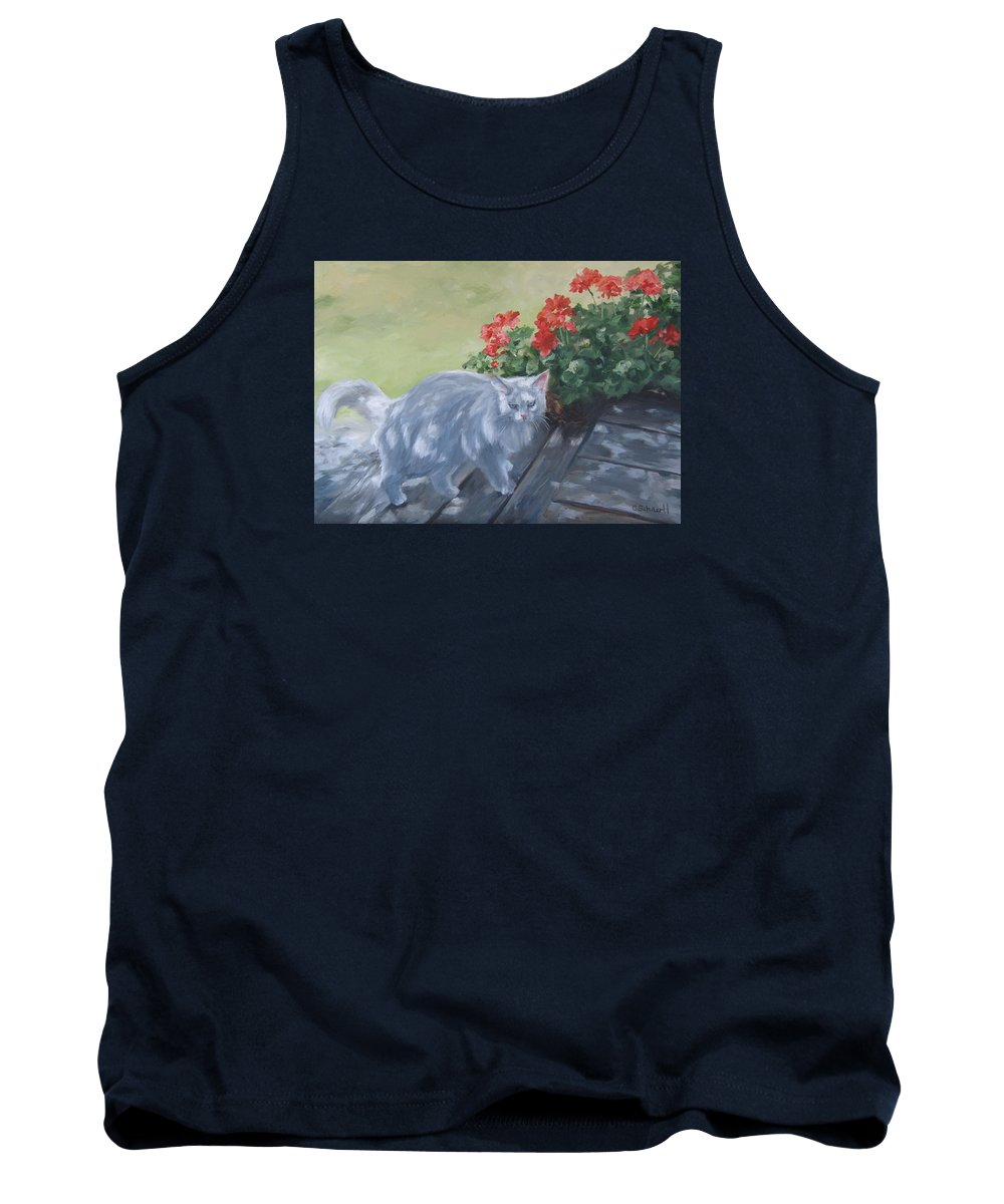 Cat Tank Top featuring the painting A Feral Cloud by Connie Schaertl