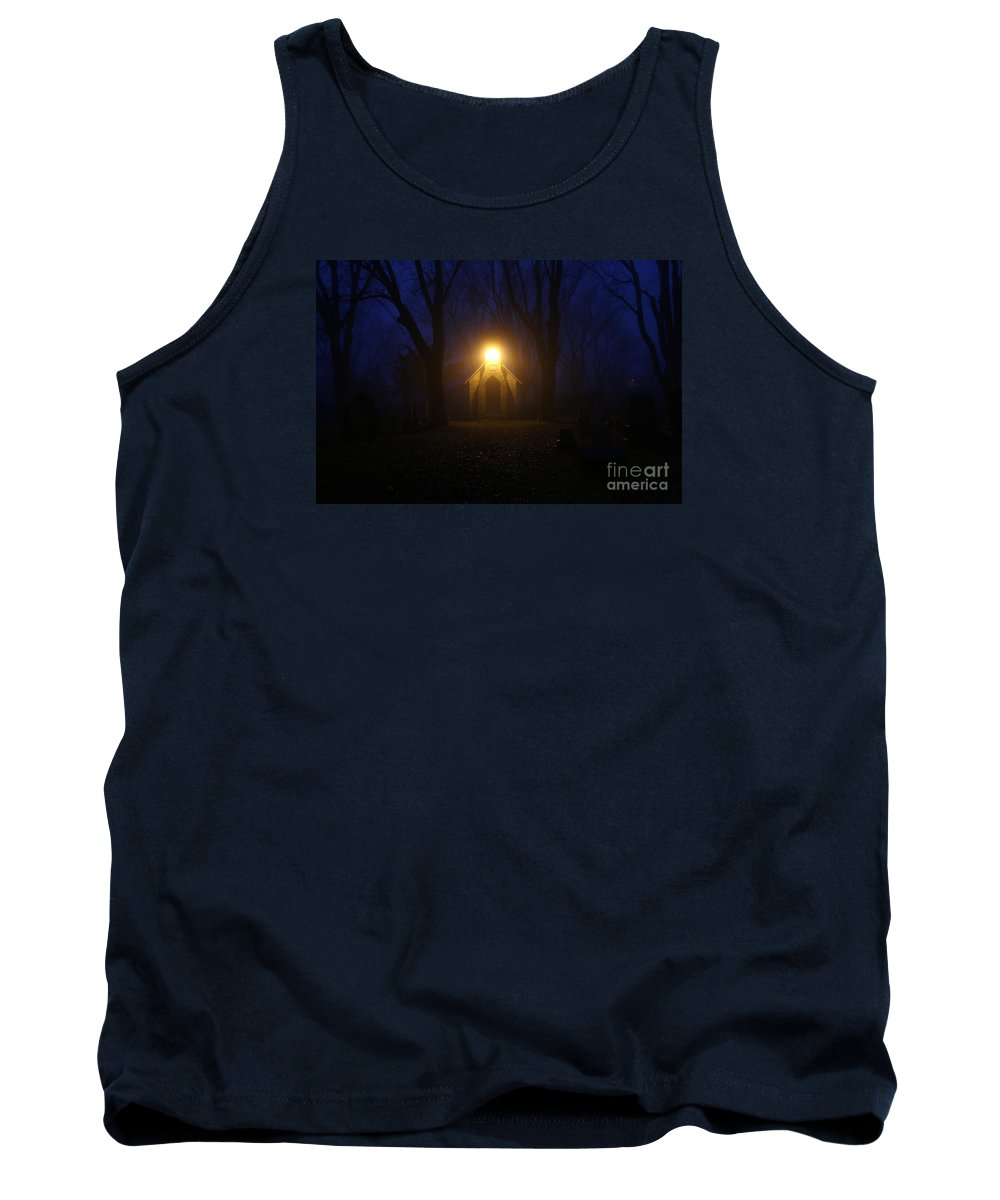 Cemetery Tank Top featuring the photograph The Foggiest Idea 4 by Eric Curtin