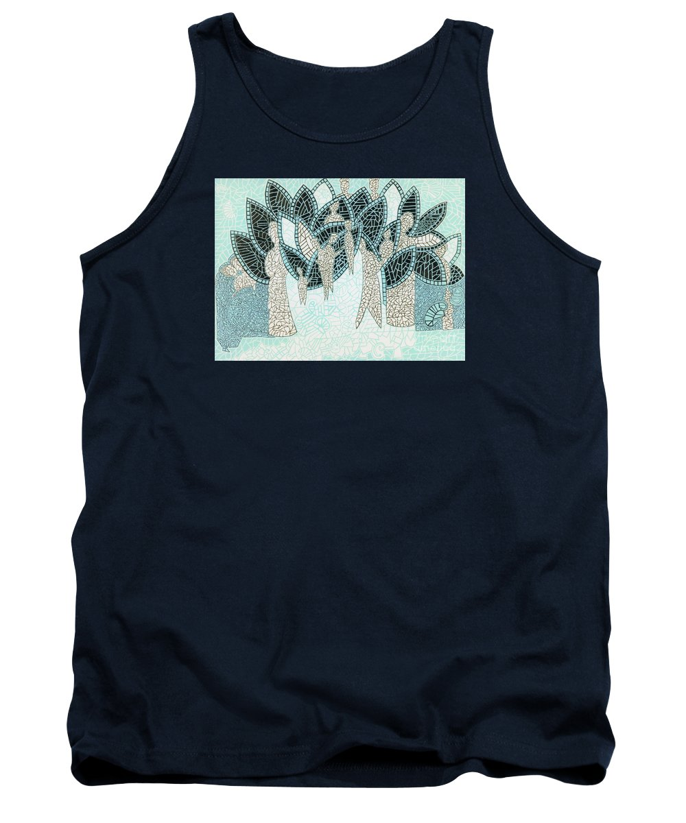 Linear Paintings Tank Top featuring the painting The Garden Of Eden by Reb Frost