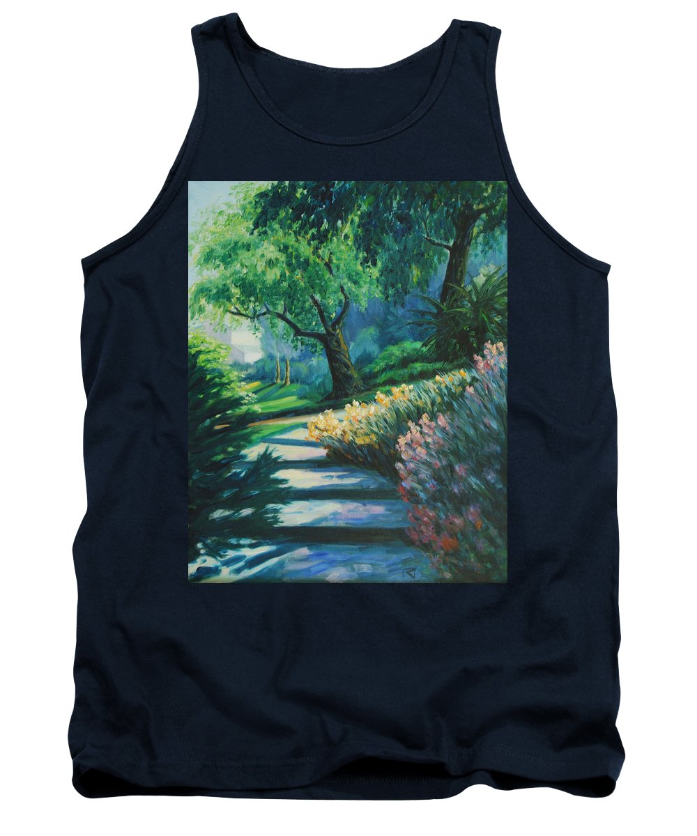 Trees Tank Top featuring the painting The Garden by Rick Nederlof