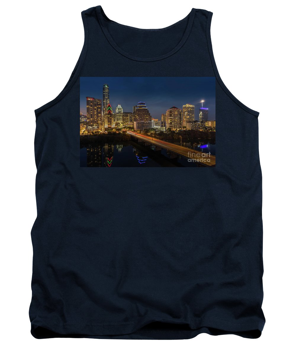 Austin Images Tank Top featuring the photograph The Glimmering Neon Lights Of The Downtown Austin Skyscrapers Illuminate The Skyline Over Lady Bird Lake by Austin Bat Tours