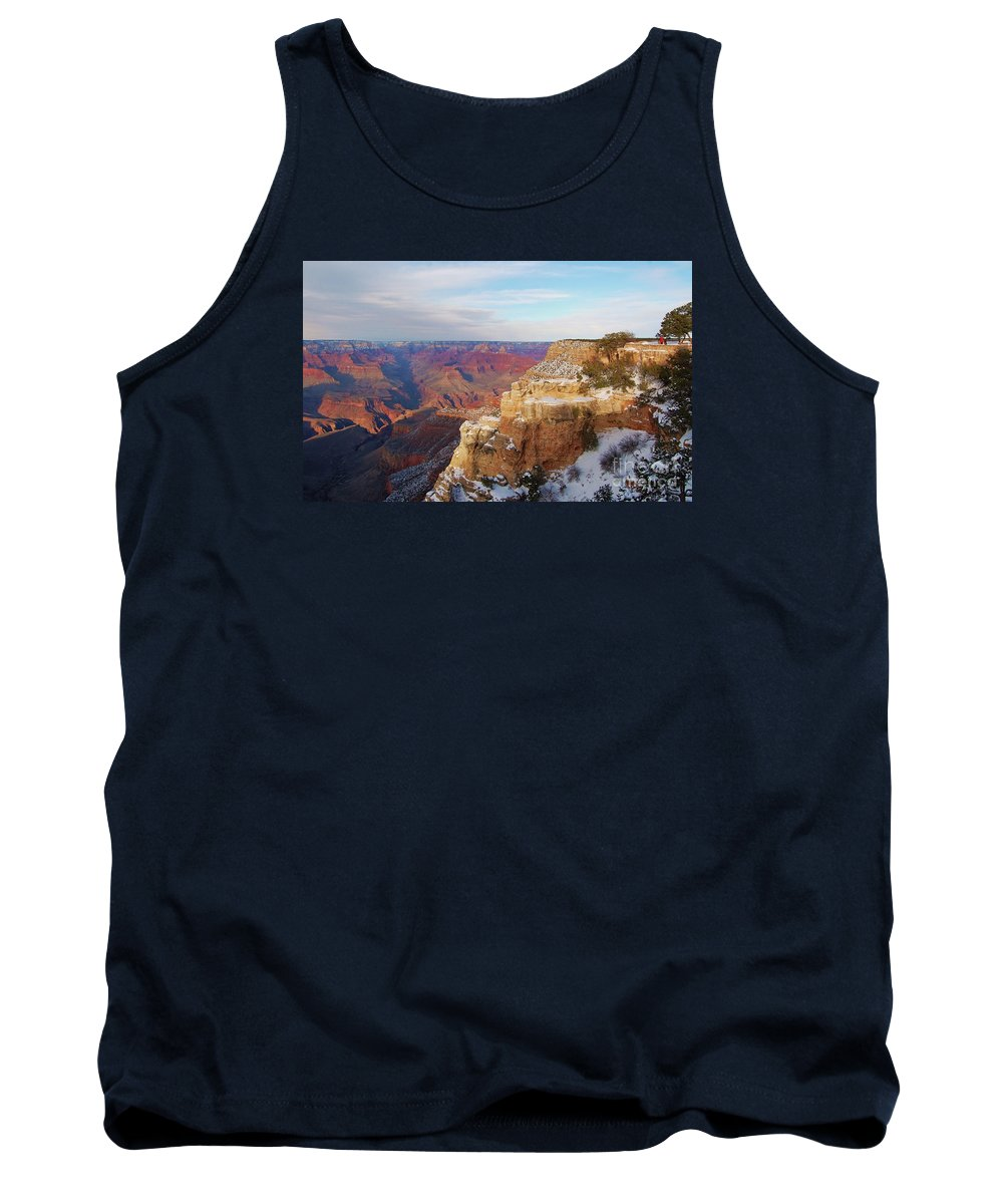 Grand Canyon Art Iconic Place Stock Shot Outdoors Nature Travel Global Known Image Landscape Snow Nature Geological Phenomena Vastness Snow Covered Mountain Sides Blue Sky Trees Rock Formations Endless Vista Contrasts Souvenir Serenity Canvas Print Suggested Metal Frame Wood Print Poster Print Available On Greeting Cards T Shirts Mugs Shower Curtains Tote Bags Mugs Fleece Blankets Yoga Mats And Phone Cases Tank Top featuring the photograph The Grand Canyon # 4 by Marcus Dagan