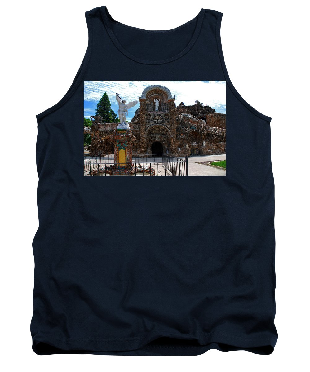 Entrance To The Grotto Of Redemption Tank Top featuring the photograph The Grotto Of Redemption In Iowa by Susanne Van Hulst