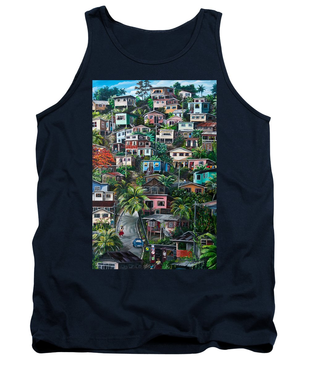 Landscape Painting Cityscape Painting Houses Painting Hill Painting Lavantille Port Of Spain Painting Trinidad And Tobago Painting Caribbean Painting Tropical Painting Caribbean Painting Original Painting Greeting Card Painting Tank Top featuring the painting THE HILL   Trinidad by Karin Dawn Kelshall- Best