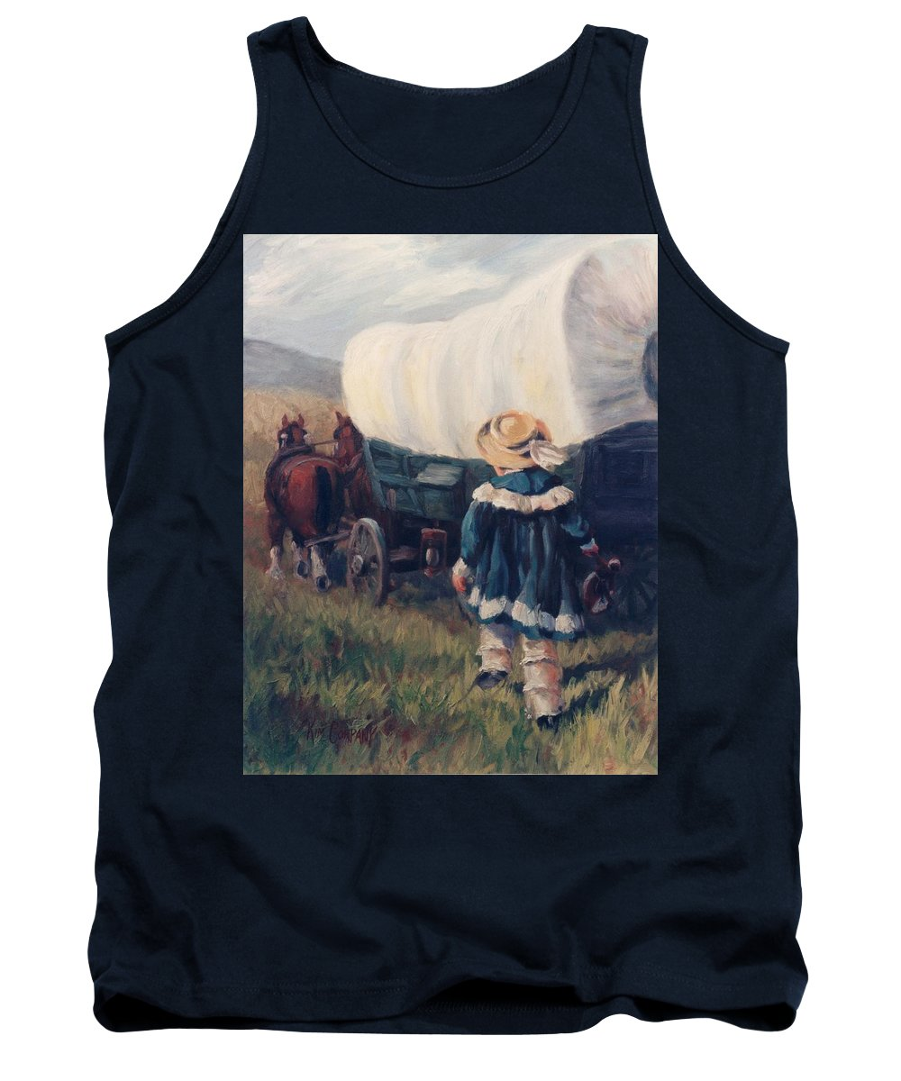 Pioneer Tank Top featuring the painting The Little Pioneer Western Art by Kim Corpany