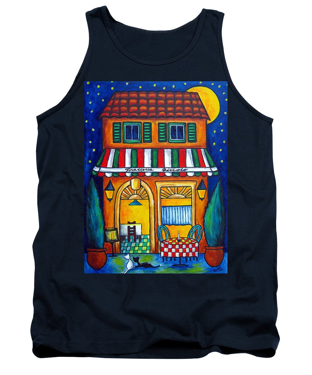 Blue Tank Top featuring the painting The Little Trattoria by Lisa Lorenz