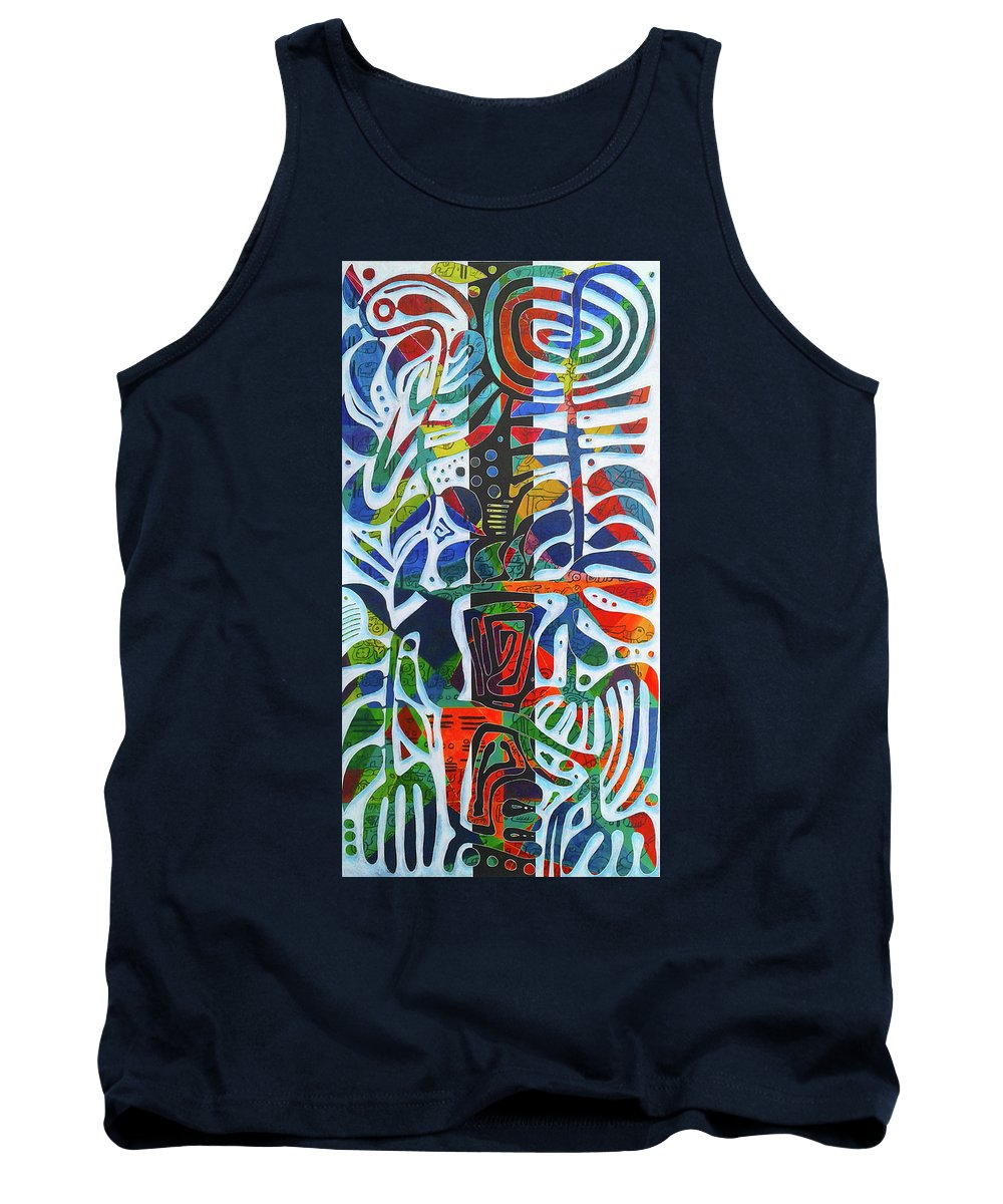 Guadeloupe Tank Top featuring the painting The One Who Dwells In The Heart Of All Things by Jocelyn Akwaba-Matignon