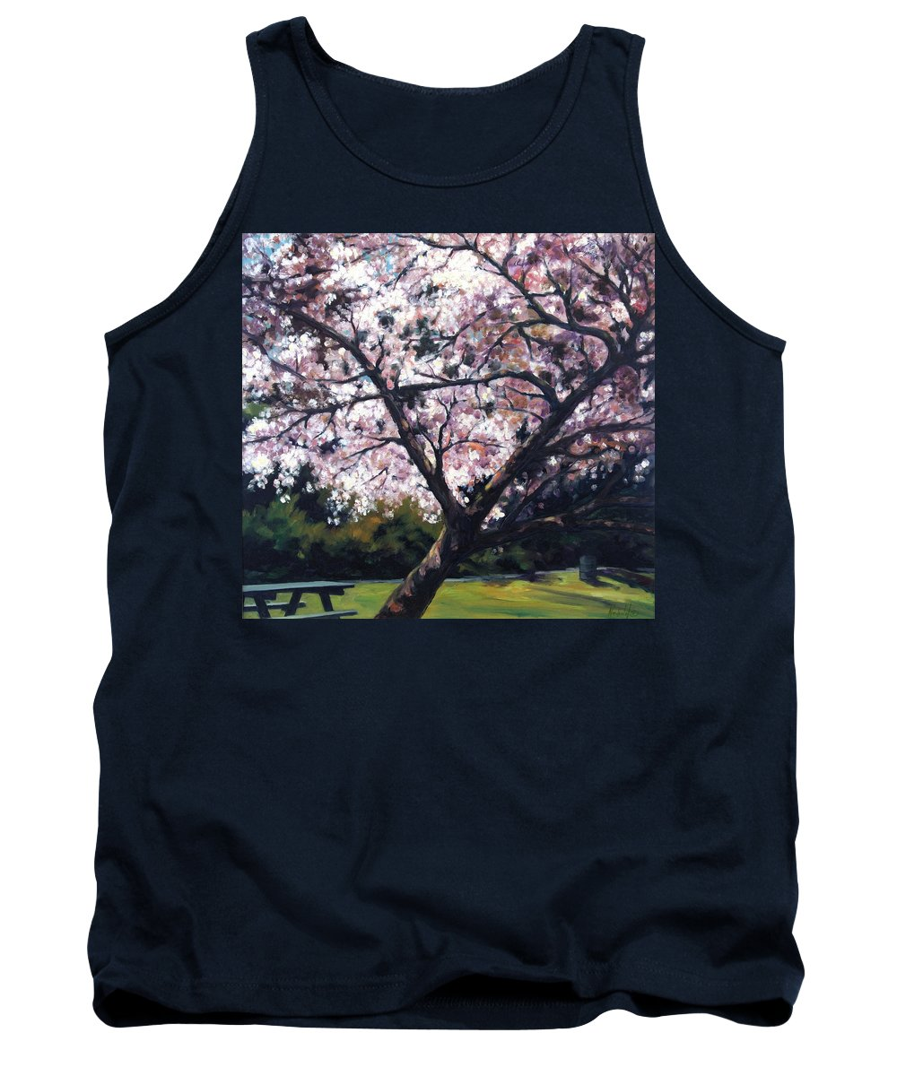 Spring Tank Top featuring the painting The Picnic Table by Rick Nederlof