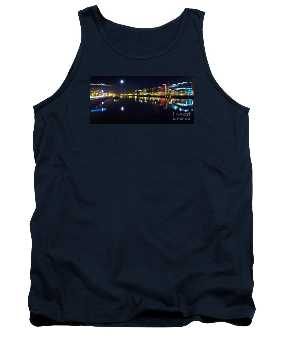 Night Romance Tank Top featuring the photograph The River Liffey Night Romance by Alex Art and Photo