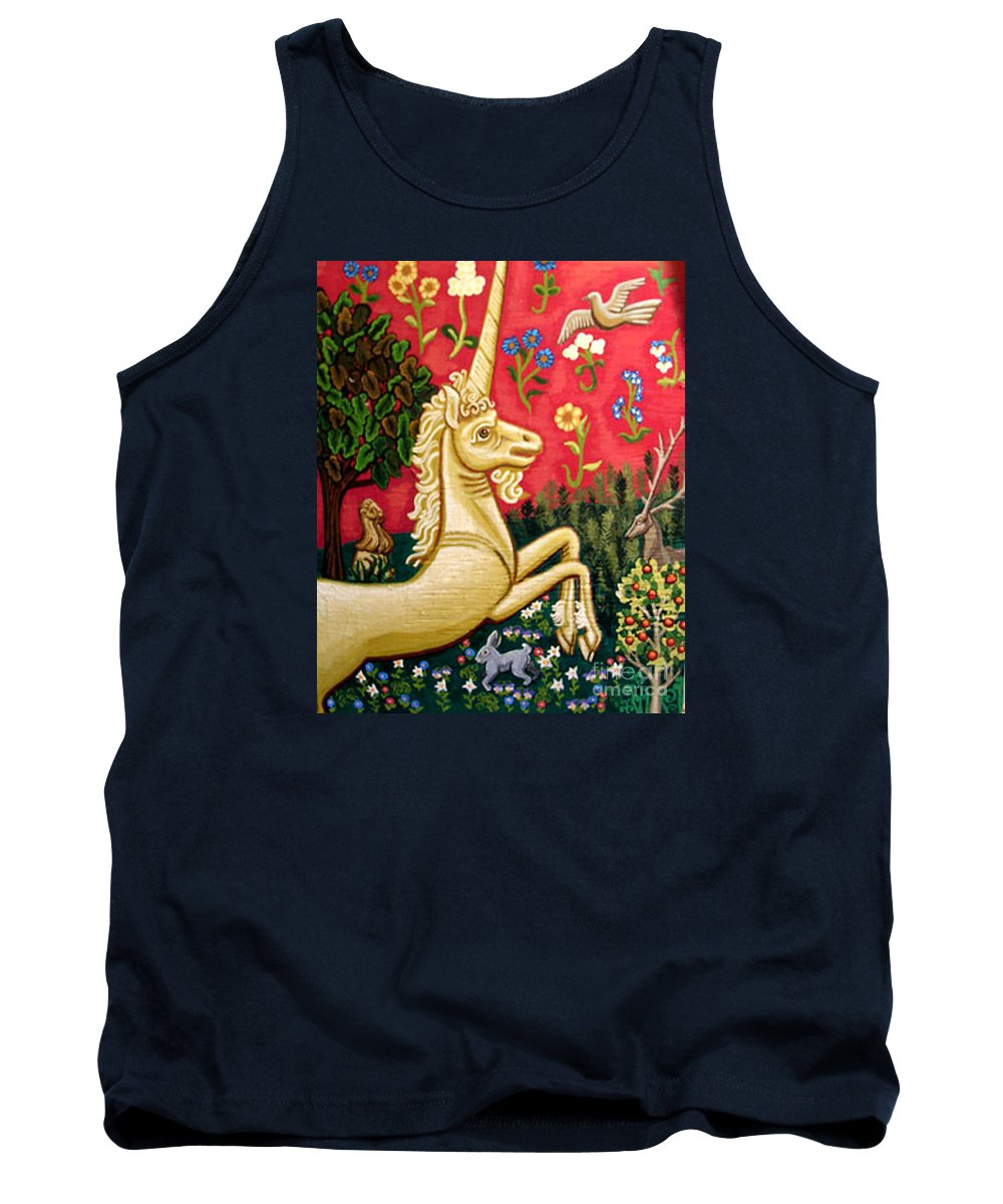 Unicorn Tank Top featuring the painting The Unicorn by Genevieve Esson