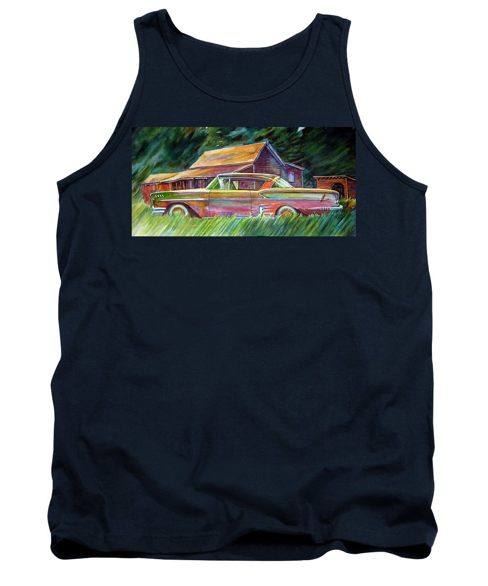 Rusty Car Chev Impala Tank Top featuring the painting This Impala Doesn by Ron Morrison