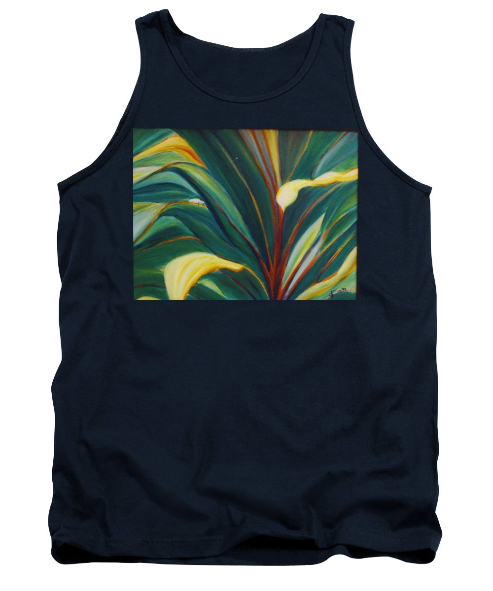 Foliage Tank Top featuring the painting Ti Leaves Too by Dina Holland
