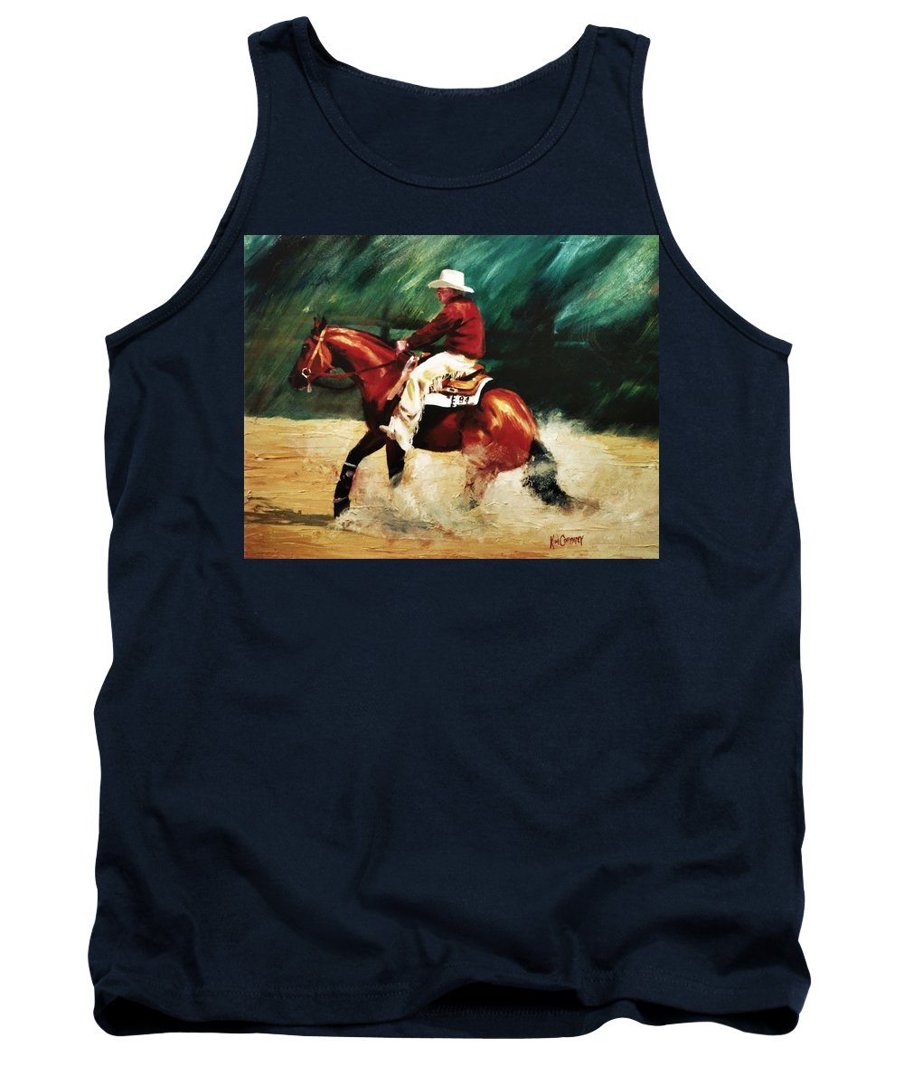 Slide Stop Tank Top featuring the painting Tk Enterprise Sliding Stop Reining Horse Portrait Painting by Kim Corpany