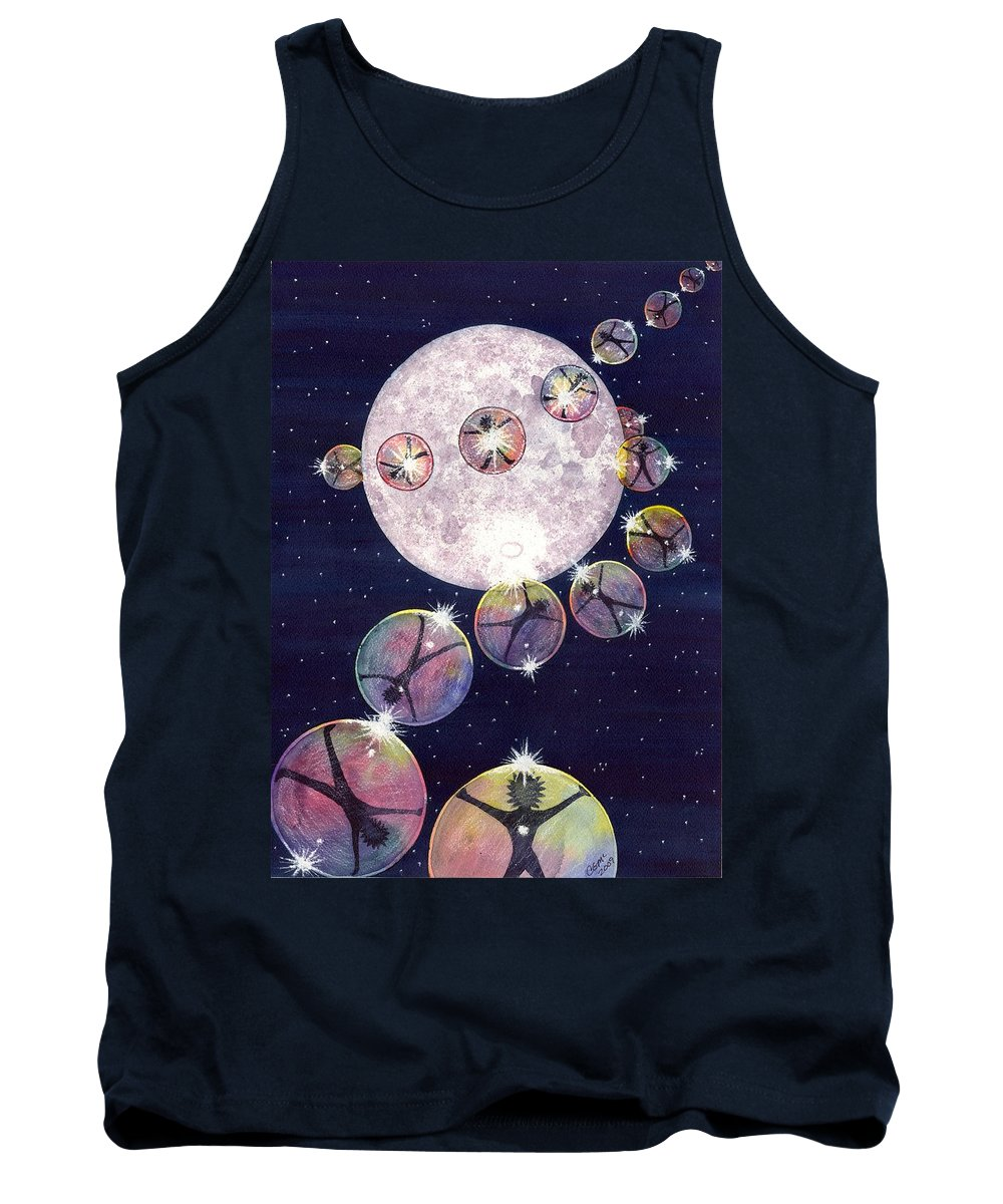 Moon Tank Top featuring the painting To The Moon and Beyond by Catherine G McElroy