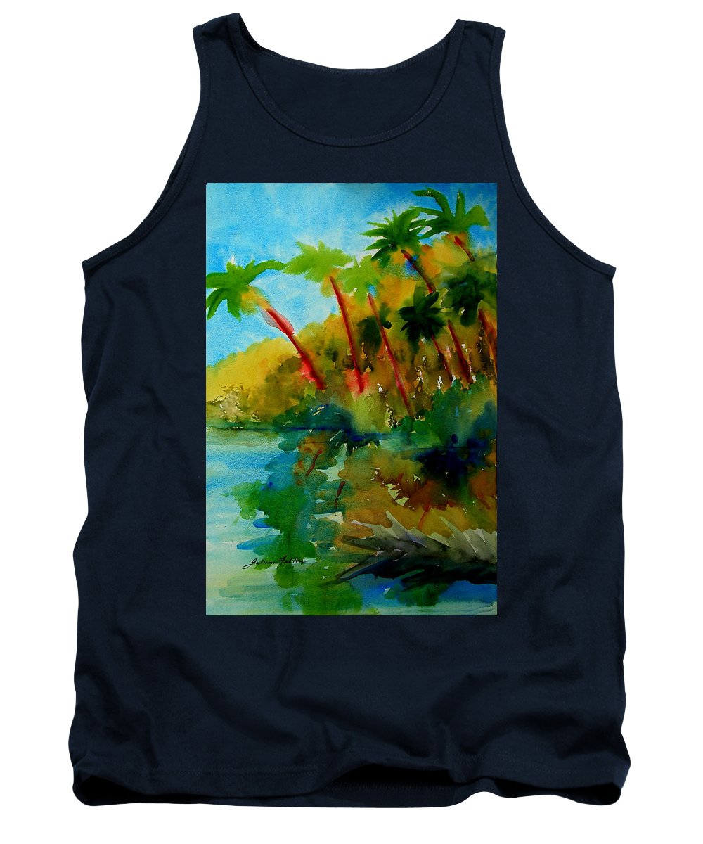 Art Tank Top featuring the painting Tropical Canal by Julianne Felton