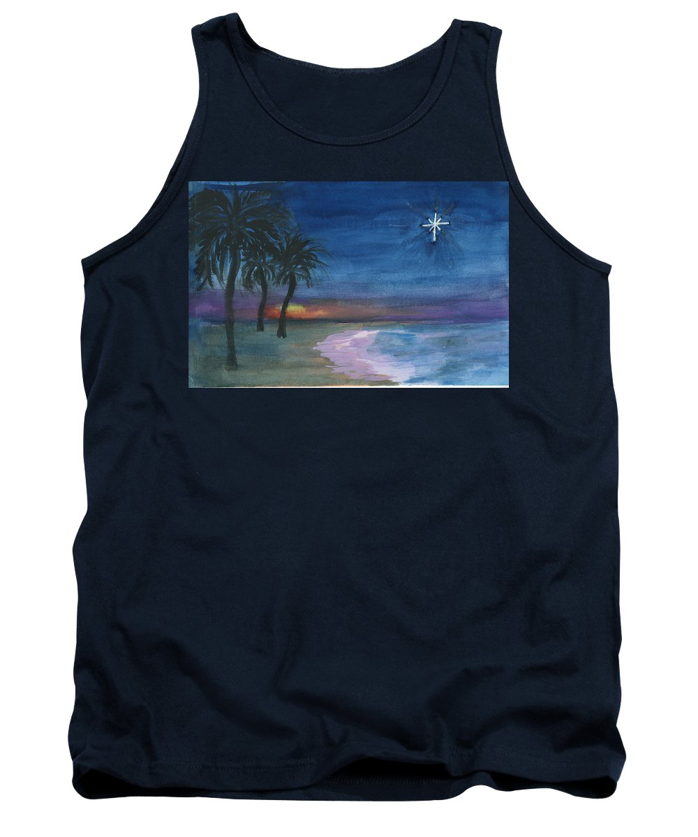 Palm Trees Tank Top featuring the painting Tropical Christmas by Donna Walsh
