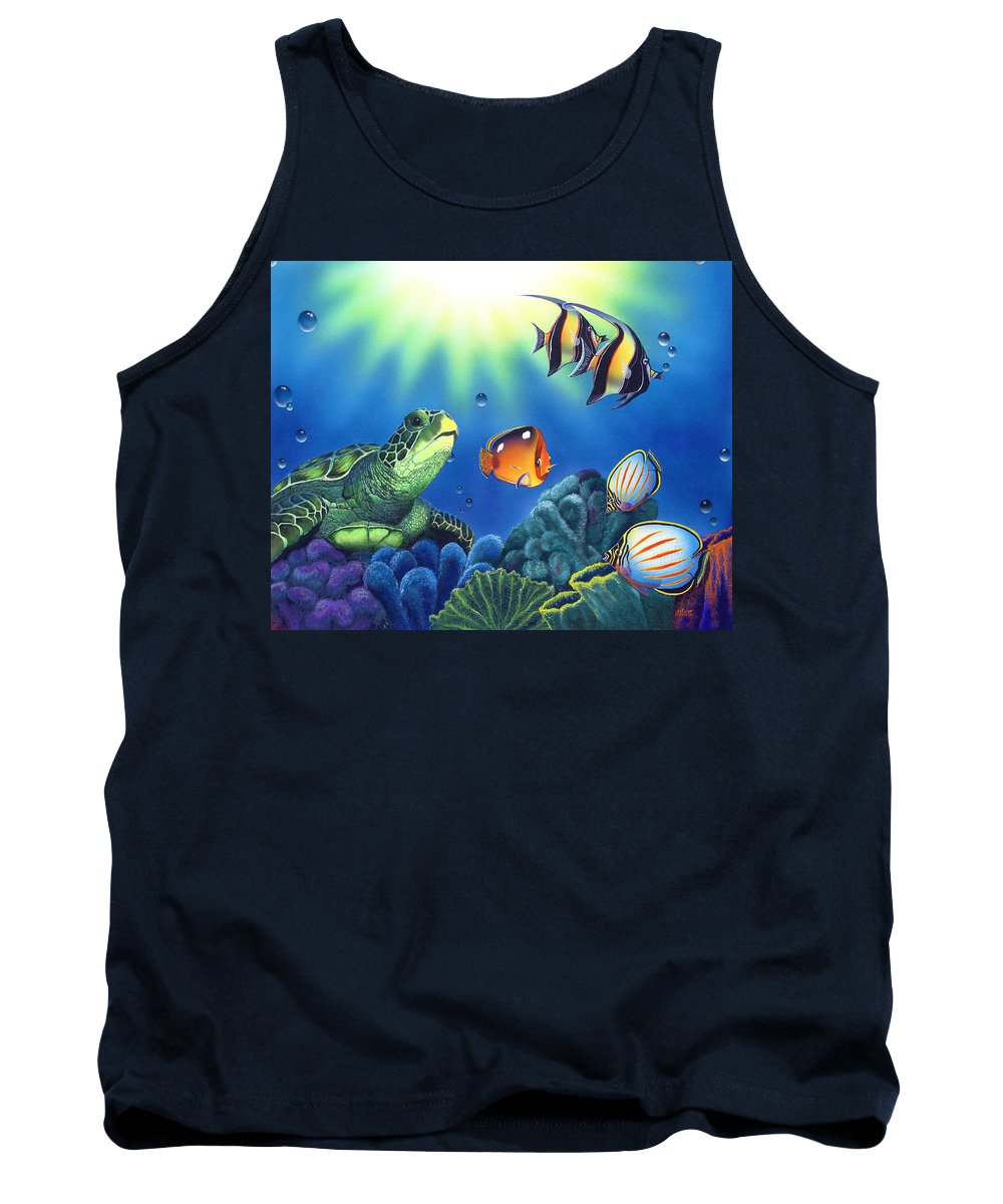 Turtle Tank Top featuring the painting Turtle Dreams by Angie Hamlin