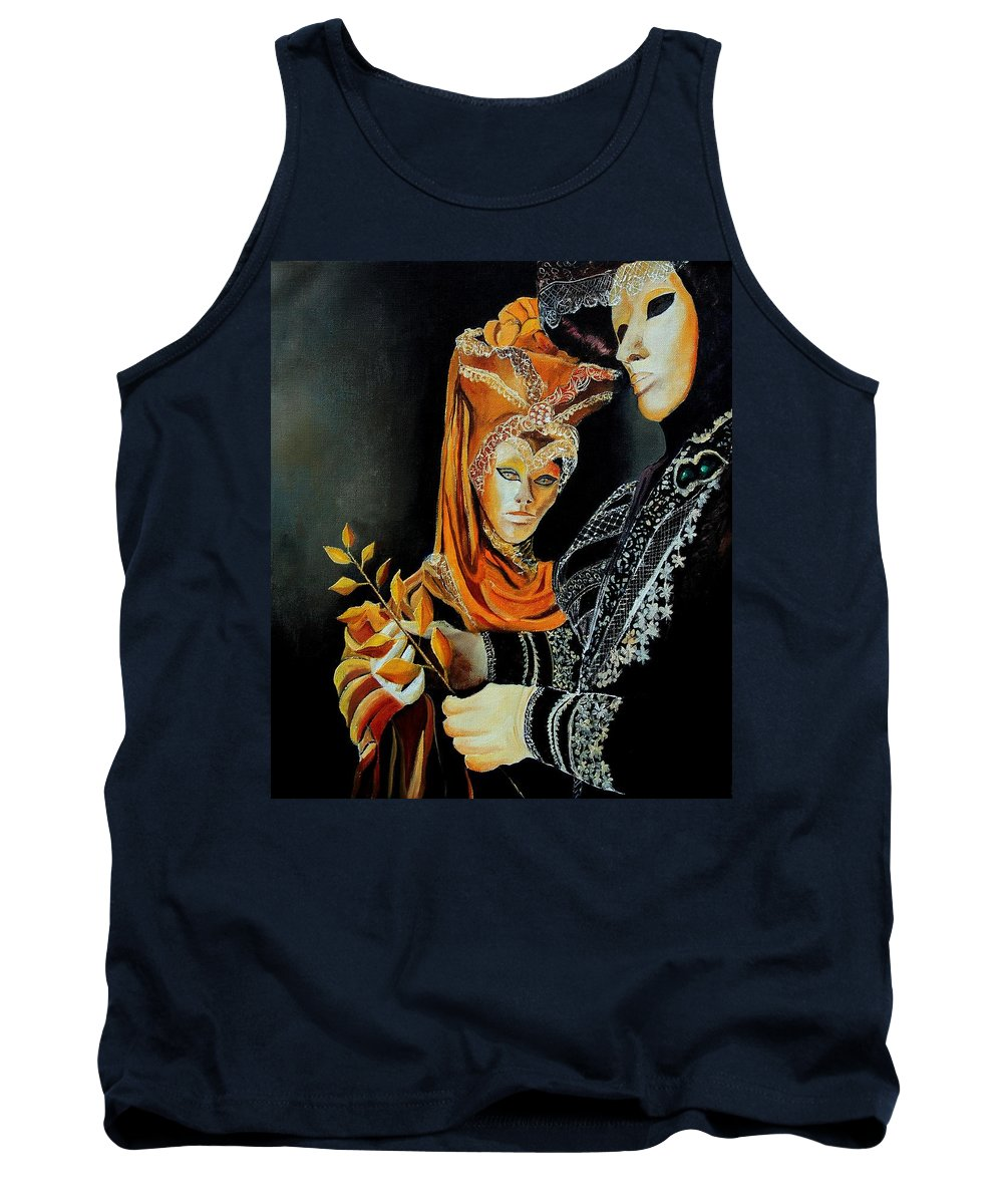 Mask Venice Carnavail Italy Tank Top featuring the painting Two Masks In Venice by Pol Ledent