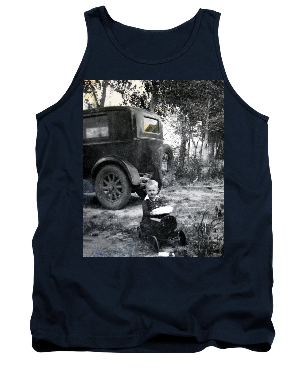 Classic Cars Antique Automobile Toy Toys Black And White Photograph Classic Tank Top featuring the photograph Two Old Cars by Andrea Lawrence