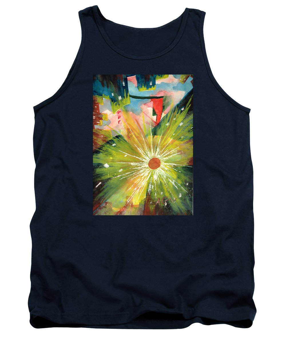 Downtown Tank Top featuring the painting Urban Sunburst by Andrew Gillette